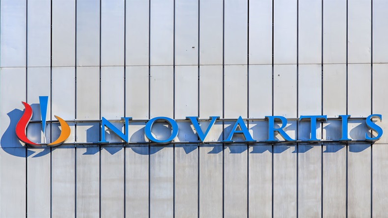 Basel, Switzerland - 27 August, 2016: sign on the wall of a Novartis building. Novartis International AG is a Swiss pharmaceutical company based in Basel, Switzerland.