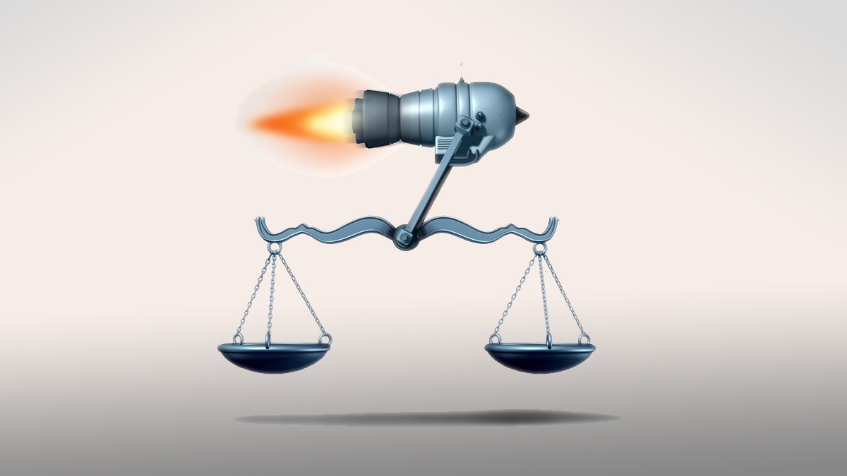 Fast track law service and lawyer services concept as a rocket moving a justice scale as a symbol of the quick legal advice or timely passage of government legislation as a 3D illustration. - Illustration