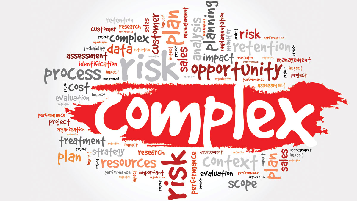 Complex Word Cloud, risk, cost, impact, opportunity, sales