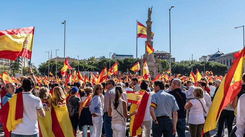 Madrid, Spain - October 7, 2017: Large numbers of people in Madrid, Spain's capital, for an anti-separatist demonstration.