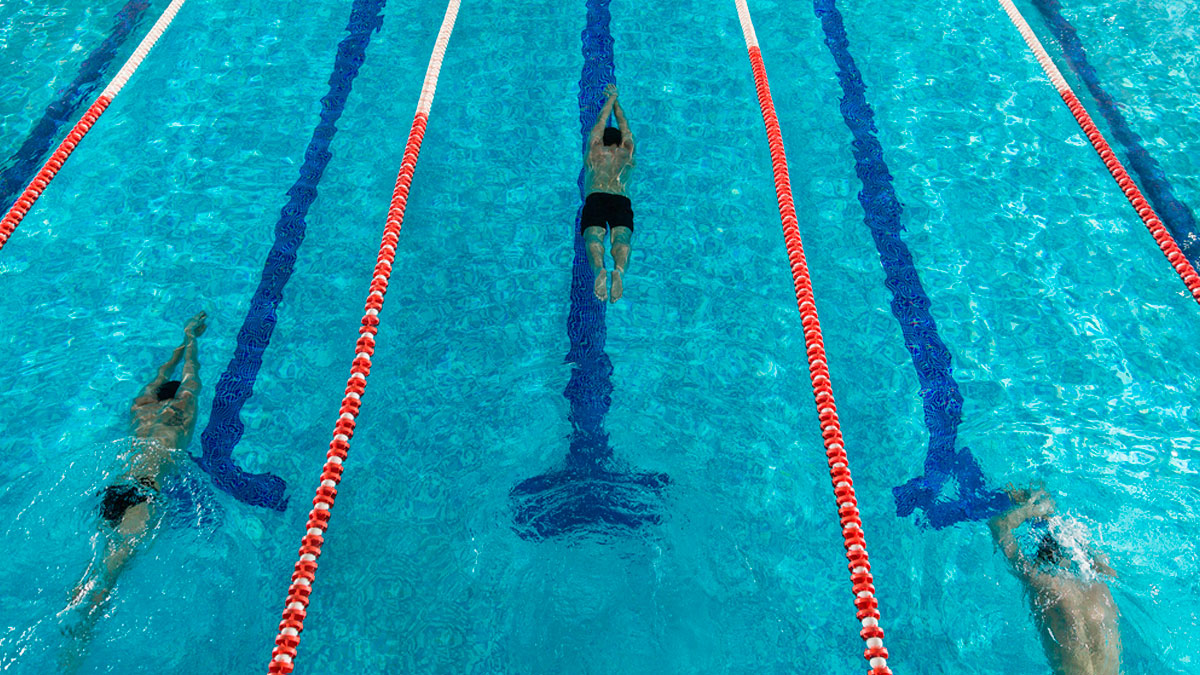 Swimmers swimming in lanes