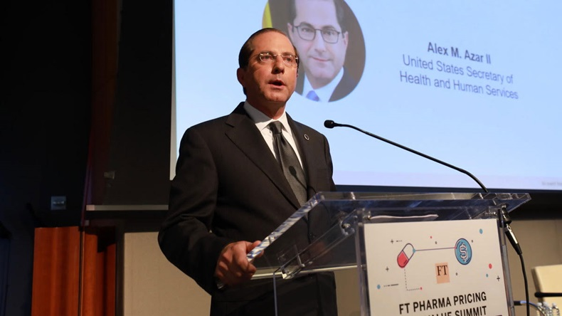 United States Secretary of Health and Human Service, Alex Azar, speaks at the FT Pharma Pricing and Value Summit in New York