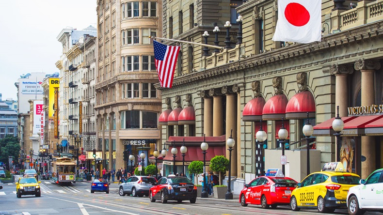 SAN FRANCISCO, CALIFORNIA, USA - OCTOBER 24, 2015: Union Square view the view to Westin St. Francis entrance - Image