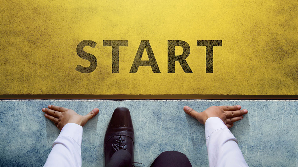 Start background, Top view of Businessman on Start line, Business Challenge or do something new - Image
