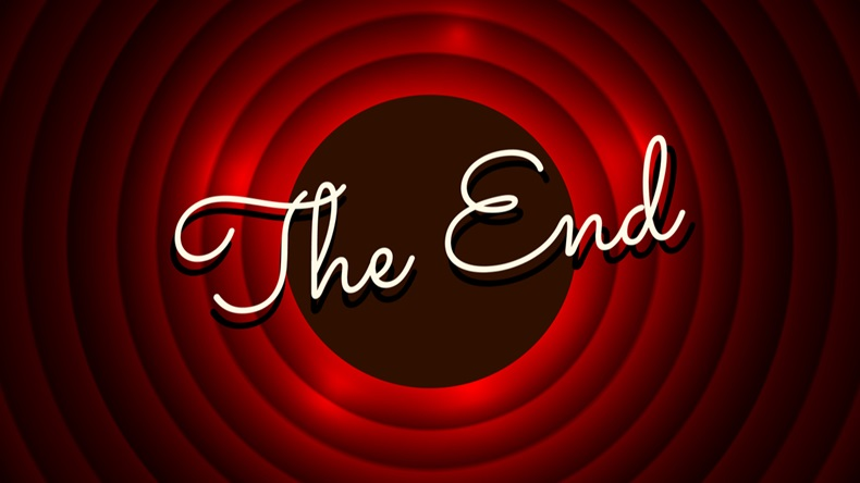 The End handwrite title on red round background. Old movie circle ending screen. Vector illustration - Vector