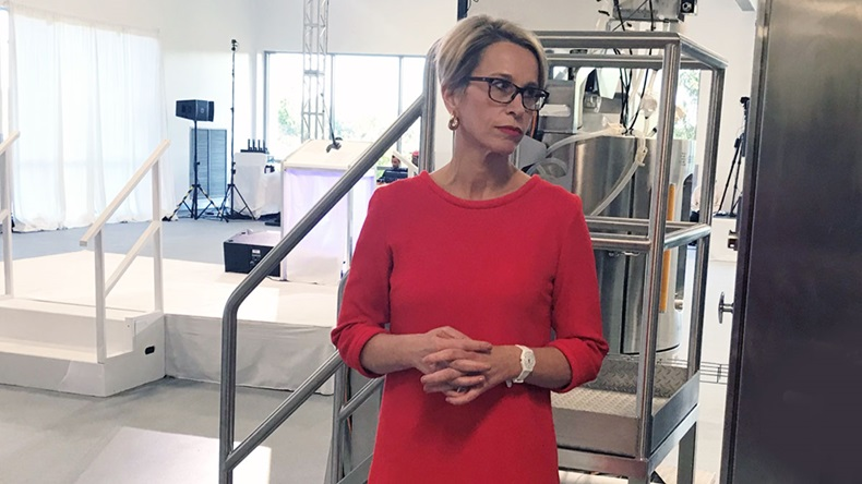 GSK CEO Emma Walmsley addresses reporters at new GSK plant