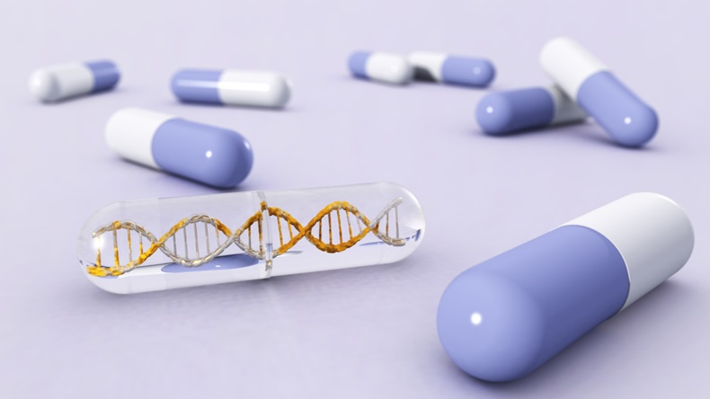 Drugs in capsules, DNA and medicine, 3d rendering - Illustration