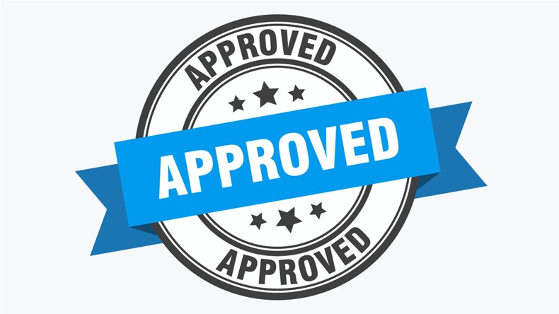 approved label. approved blue band sign. approved. approved stamp on white background - Vector
