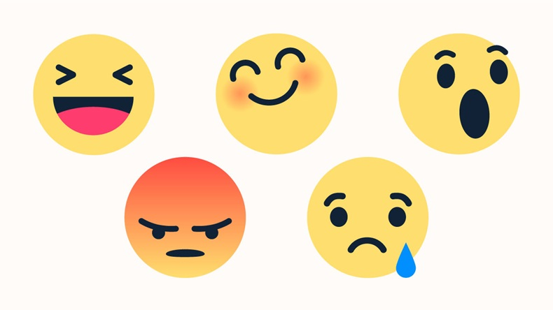 famous vector round yellow cartoon bubble emoticons for social media Facebook Instagram chat comment reactions, icon template face tear, smile, sad, Lol, happy, angry laughter emoji character message