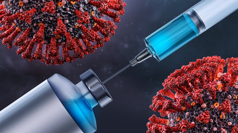 Vaccine coronavirus covid-19 ncov 2019 virus infection research, test, analysis. Coronavirus SARS-CoV-2 treatment vaccine injection laboratory testing, immunization, prevention 3D medical illustration
