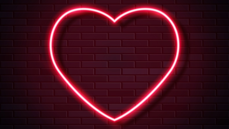 Modern Neon Red Glowing Heart Banner on Dark Empty Grunge Brick Background. Vector Vintage Red Heart Sign. Retro Neon Valentines Day Symbol