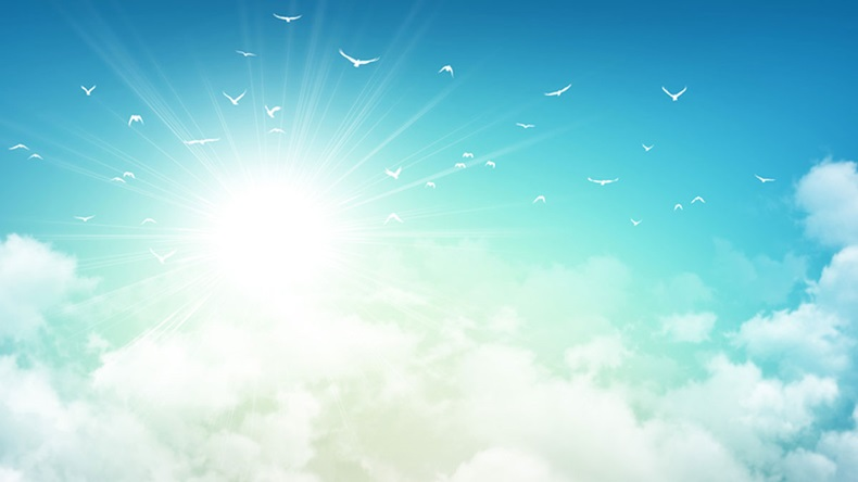Early morning sky background, sunlight through white clouds and free birds flying away
