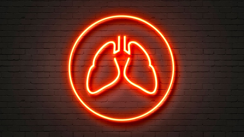 Neon Light Sign Lungs Icon
