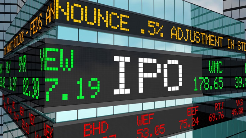IPO Initial Private Offering Stock Market Ticker Building 3d Illustration