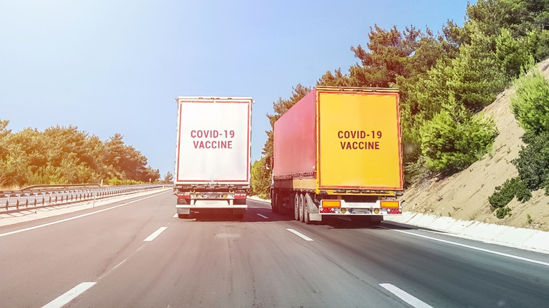 Trailer truck delivering covid-19 vaccine
