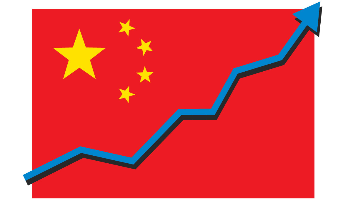 China flag with arrow graph going up showing strong economy and shares rise. Profit and success. Isolated vector illustration.