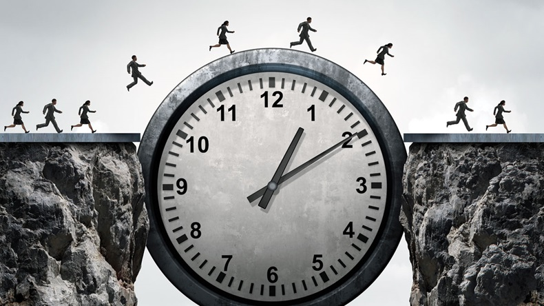 Business time concept as a group of running businessmen and businesswomen using a giant clock to cross over a cliff as a bridge as a metaphor for schedule and appointment speed as a 3D illustration.
