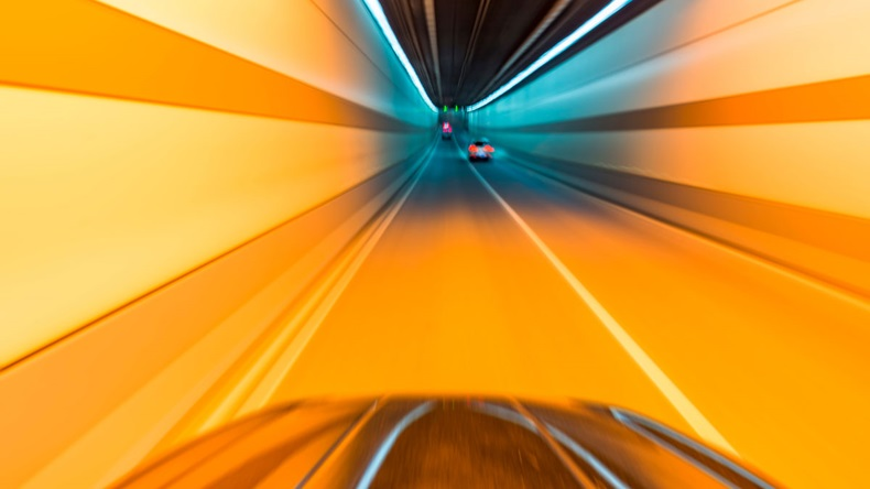 car racing in tunnel