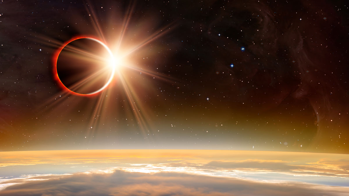 "Solar Eclipse ""Elements of this image furnished by NASA """