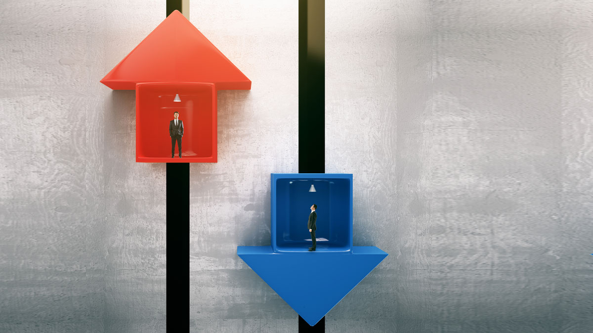 Red and blue arrow elevators with businessmen going up and down.