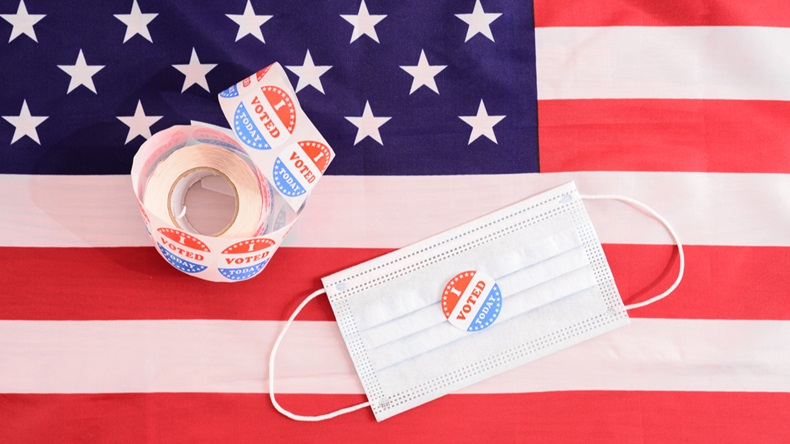 Voting sticker with mask and flag